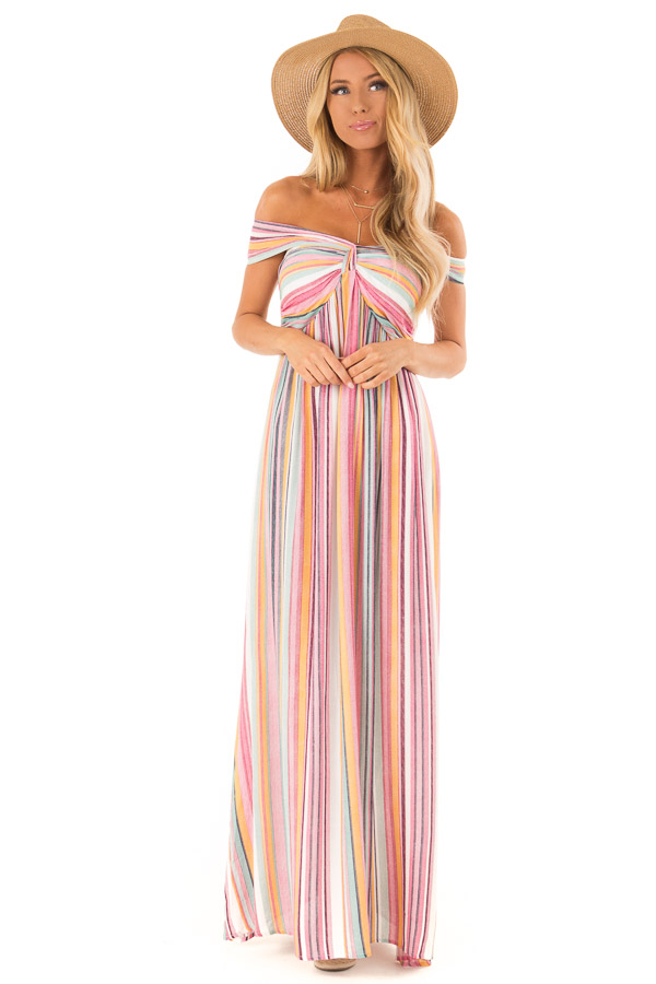 Multicolor Striped Halter Maxi Dress with Front Knot Detail front full body