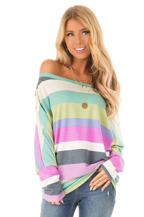 38fc3de2649 Orchid and Periwinkle Striped Boat Neck Dolman Sleeve Top front close up