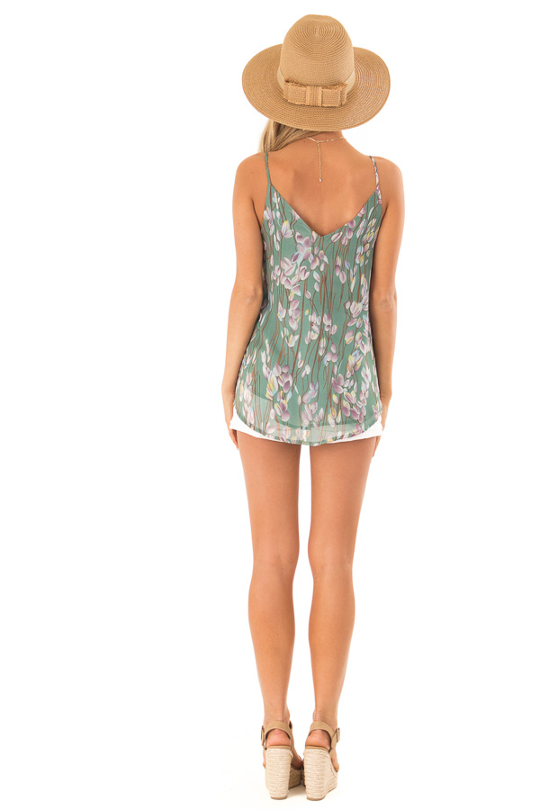 Pale Clover Sleeveless Criss Cross Floral Blouse with Lace back full body