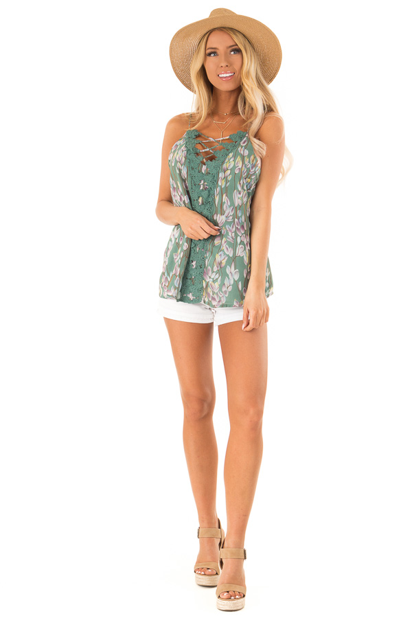 Pale Clover Sleeveless Criss Cross Floral Blouse with Lace front full body