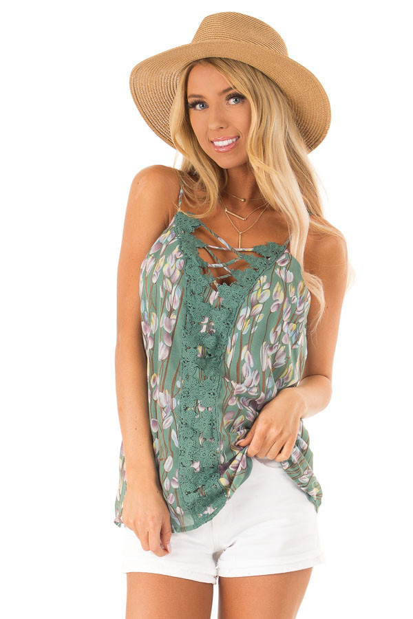 Pale Clover Sleeveless Criss Cross Floral Blouse with Lace front close up