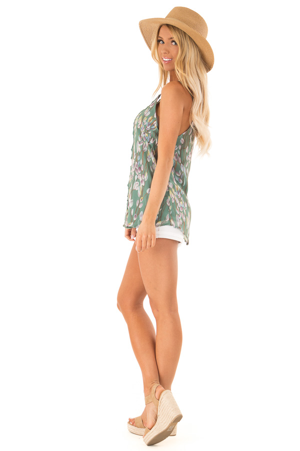Pale Clover Sleeveless Criss Cross Floral Blouse with Lace side full body
