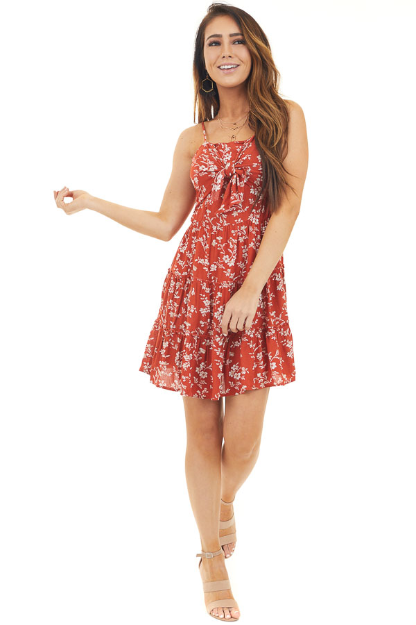 Rust Floral Spaghetti Strap Dress with Front Tie Detail