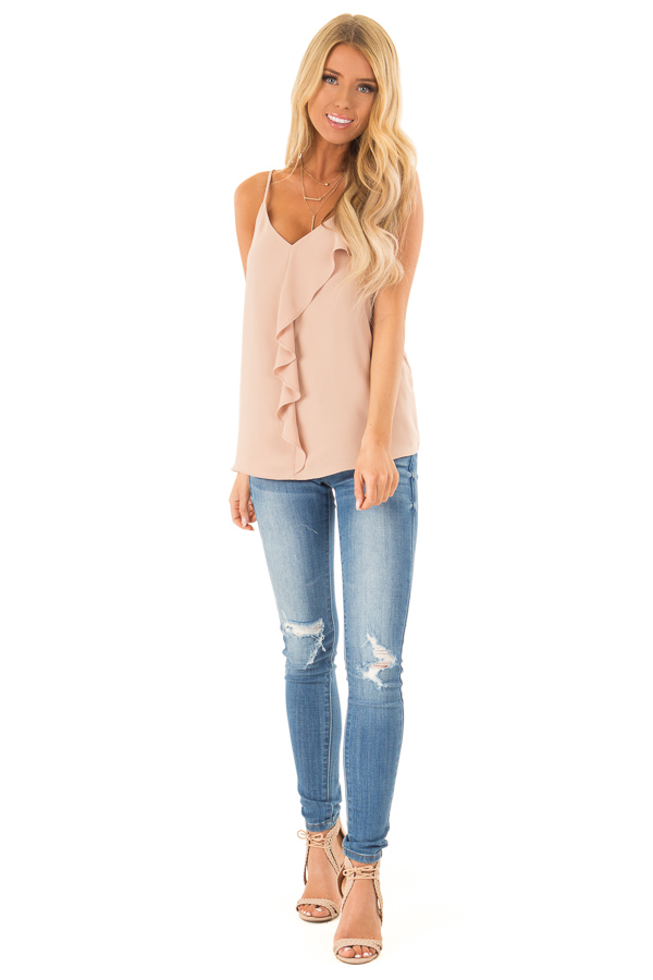 Champagne Asymmetrical Ruffle Cami V Neck Top front full body