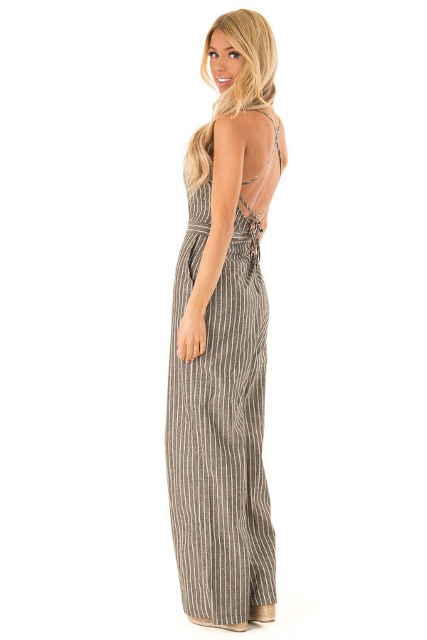 Charcoal Striped Button Up Sleeveless Wide Leg Jumpsuit side full body