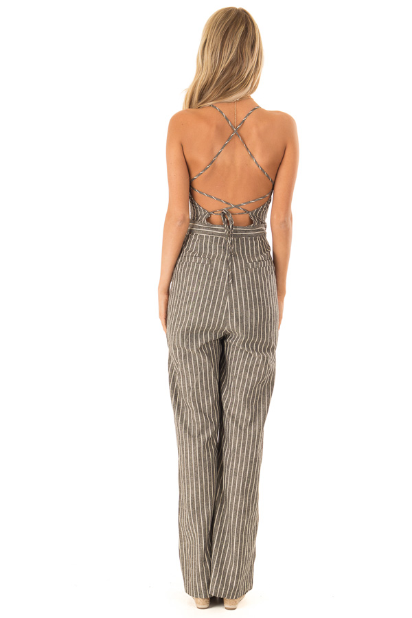 Charcoal Striped Button Up Sleeveless Wide Leg Jumpsuit back full body