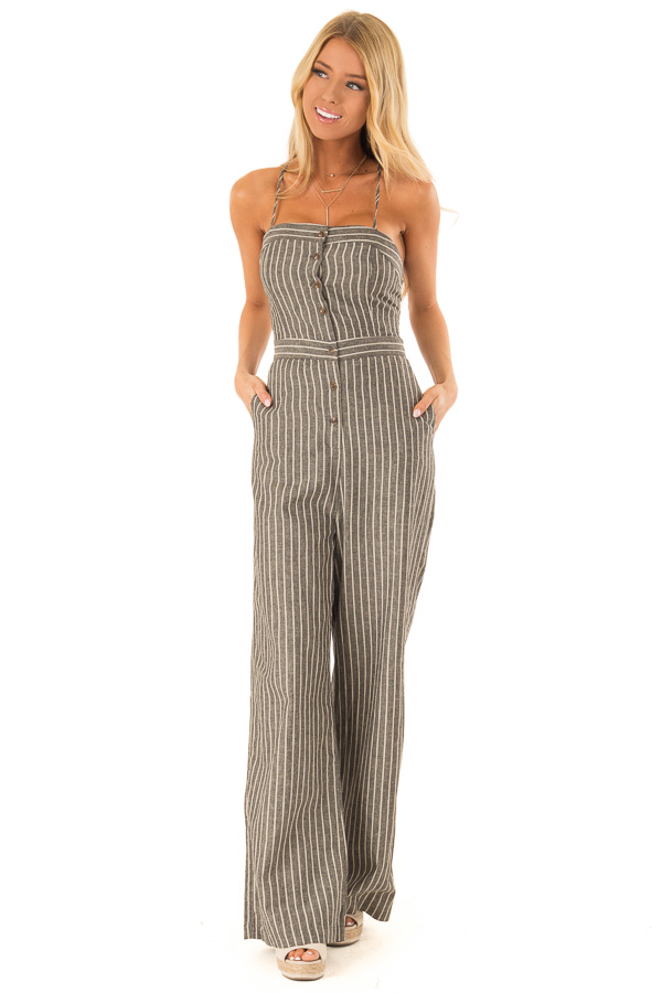 Charcoal Striped Button Up Sleeveless Wide Leg Jumpsuit front full body