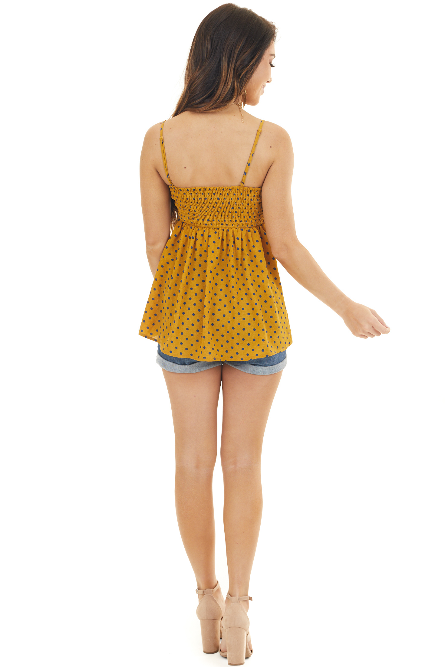 Mustard and Navy Polka Dot Spaghetti Strap Tank with Tie