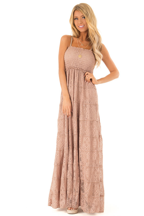 cc83beb1420 Mocha Tiered Lace Strapless Smocked Maxi Dress - Lime Lush Boutique