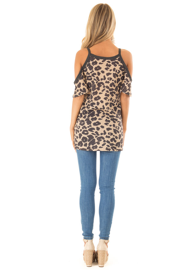 Leopard Print Cold Shoulder Button Up Top with Front Tie back full body