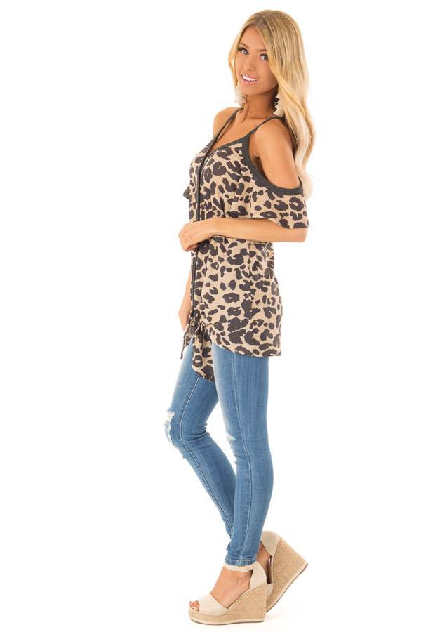 Leopard Print Cold Shoulder Button Up Top with Front Tie side full body