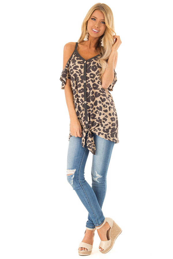 Leopard Print Cold Shoulder Button Up Top with Front Tie front full body