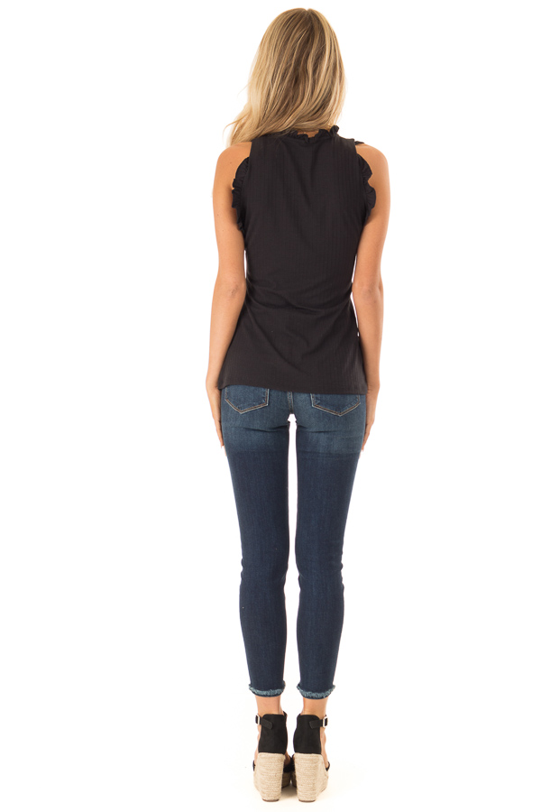 Ebony Ribbed Mock Neck Tank with Ruffle Detail back full body