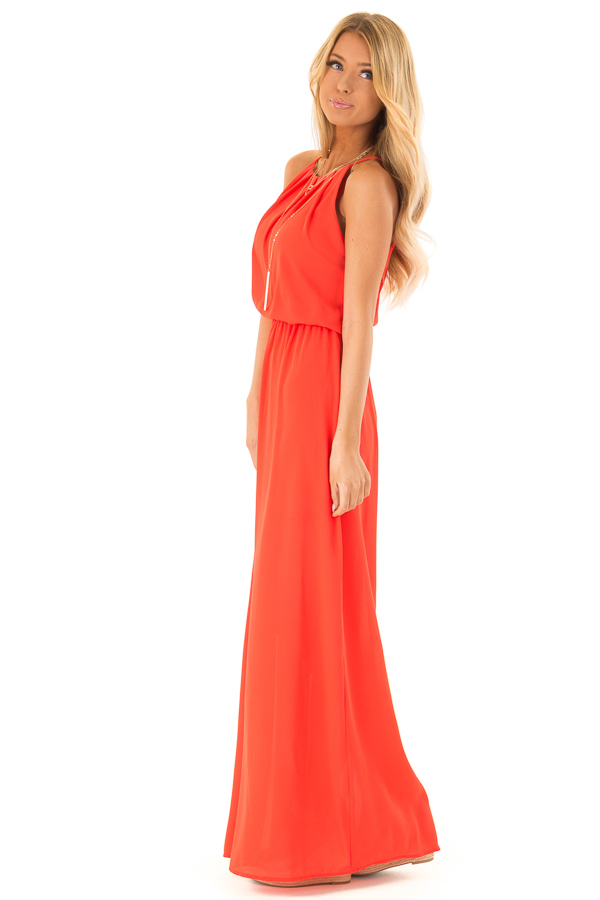 2c220ca77b Tomato Red Flowy Maxi Dress with Pleated Halter Neckline - Lime Lush ...