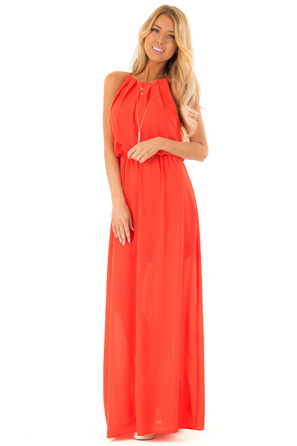 ef8ed115d9 Tomato Red Flowy Maxi Dress with Pleated Halter Neckline front full body