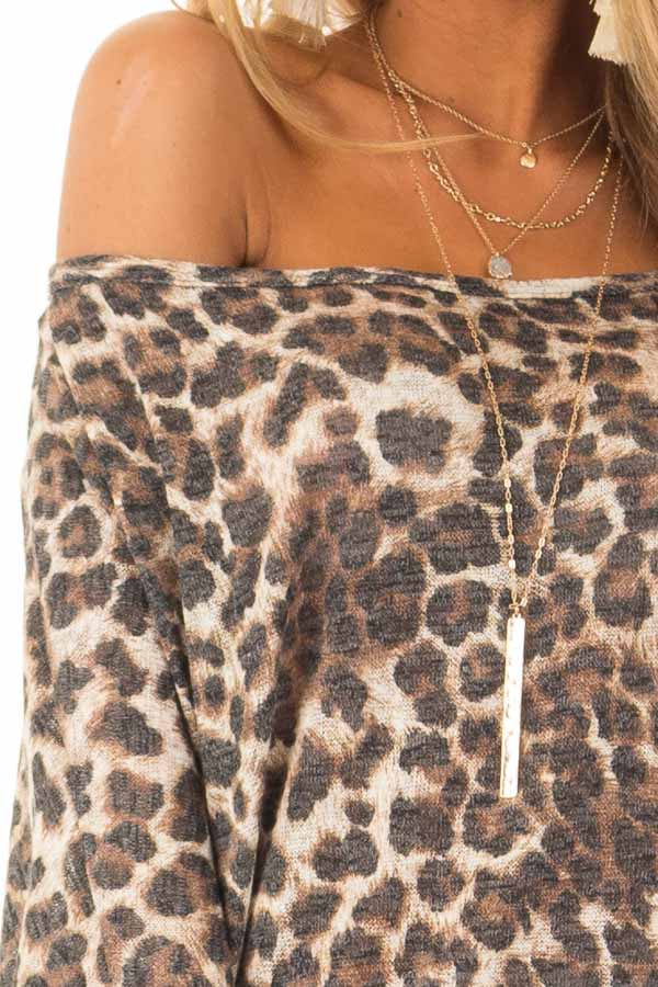 Leopard Print Off the Shoulder Top with Boat Neckline detail