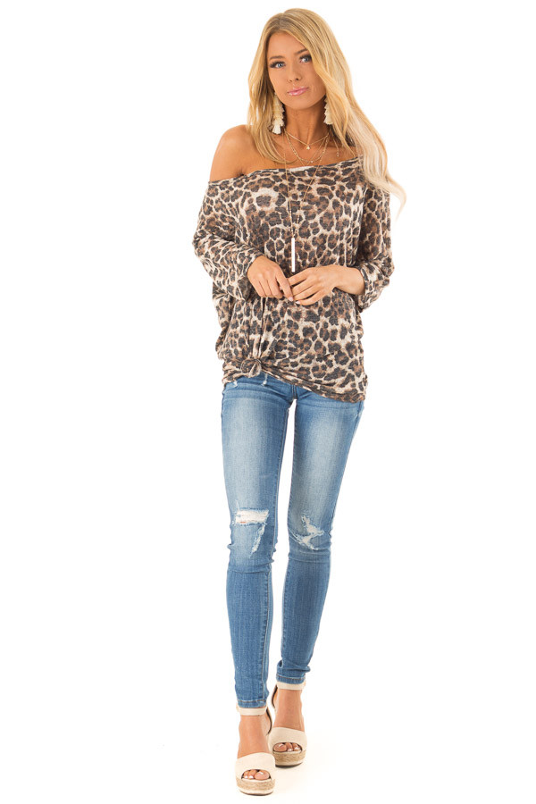 Leopard Print Off the Shoulder Top with Boat Neckline front full body