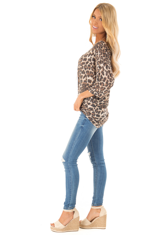 Leopard Print Off the Shoulder Top with Boat Neckline side full body