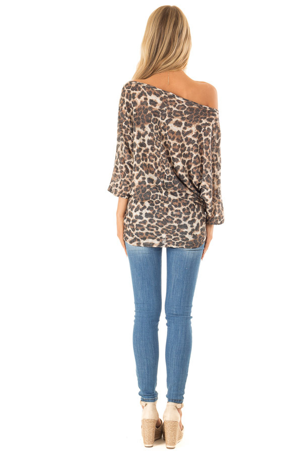 Leopard Print Off the Shoulder Top with Boat Neckline back full body