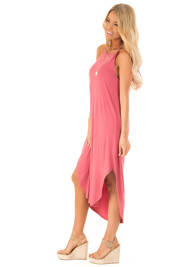 Antique Rose Comfy Halter Midi Dress with Rounded Hemline side full body