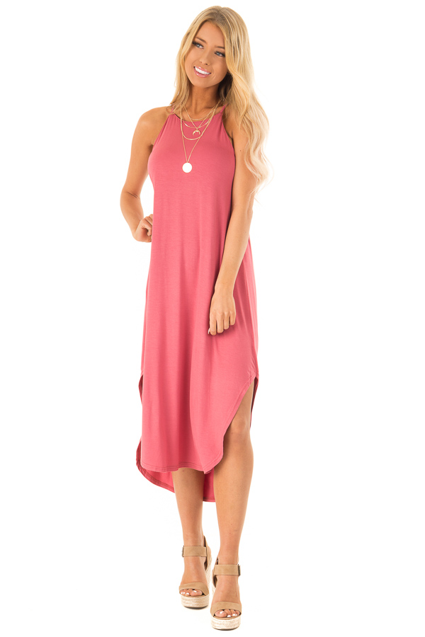 Antique Rose Comfy Halter Midi Dress with Rounded Hemline front full body