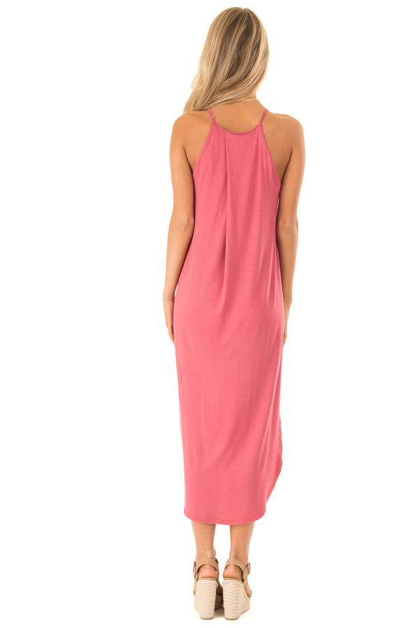 Antique Rose Comfy Halter Midi Dress with Rounded Hemline back full body