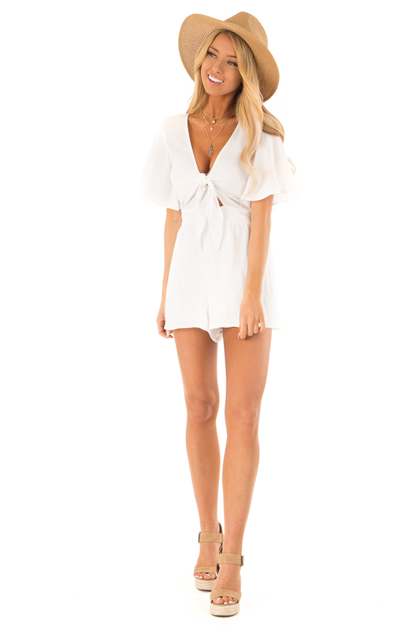 Coconut White Short Flutter Sleeve Romper with Front Tie front full body