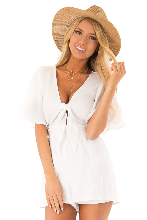 Coconut White Short Flutter Sleeve Romper with Front Tie front close up