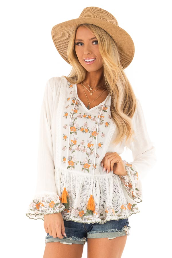 89c794091b4908 Ivory Embroidered Bell Sleeve Peasant Top with Crochet Hem front close up