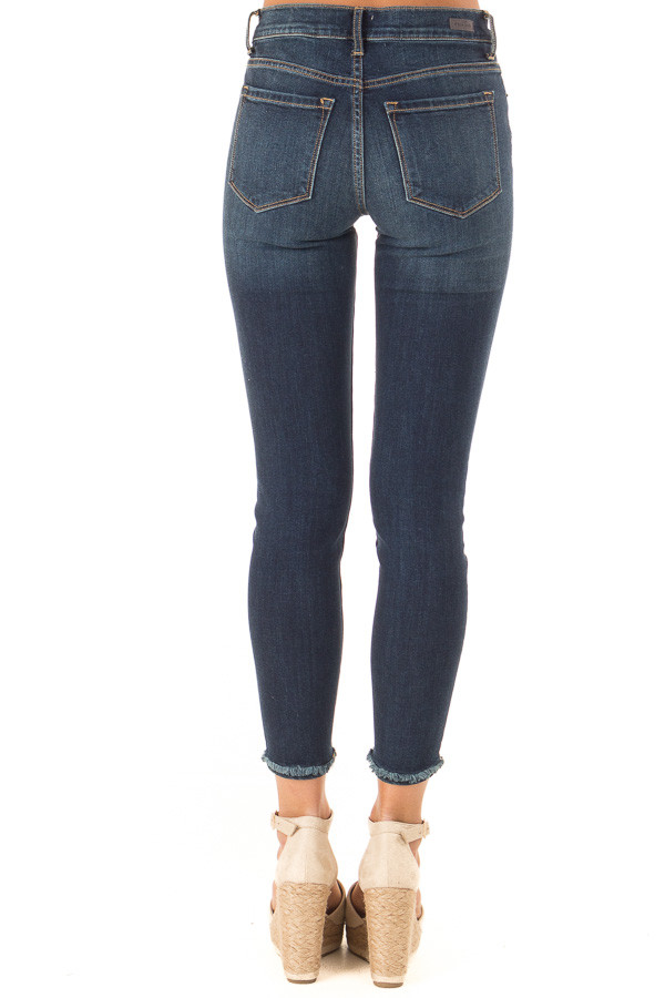 Dark Denim Mid Rise Ankle Skinny Jeans with Distressed Hems back view