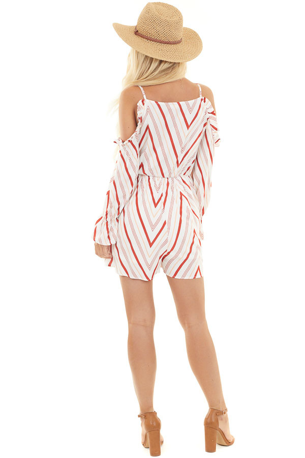 Ivory and Rust Chevron Print Cold Shoulder Ruffle Romper