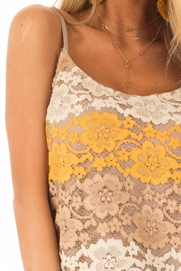 Mocha Tank with Adjustable Spaghetti Straps and Lace Overlay detail