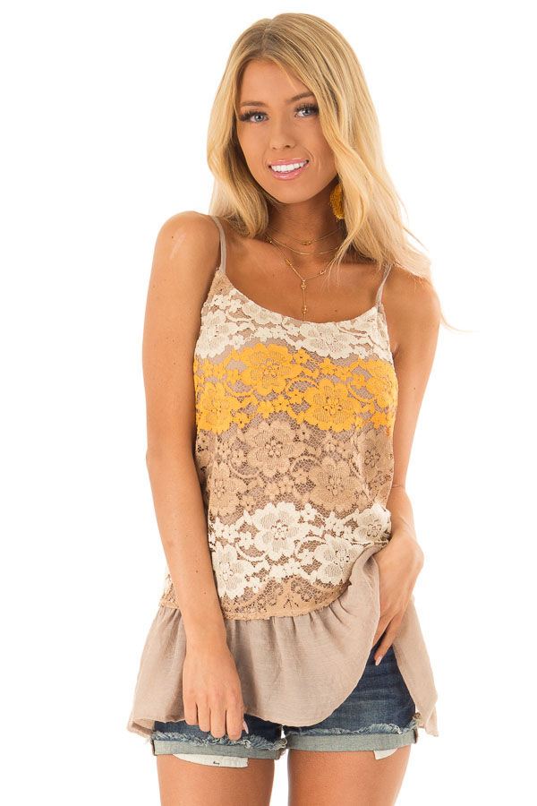 Mocha Tank with Adjustable Spaghetti Straps and Lace Overlay front close up
