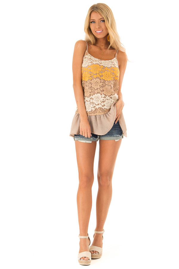 Mocha Tank with Adjustable Spaghetti Straps and Lace Overlay front full body