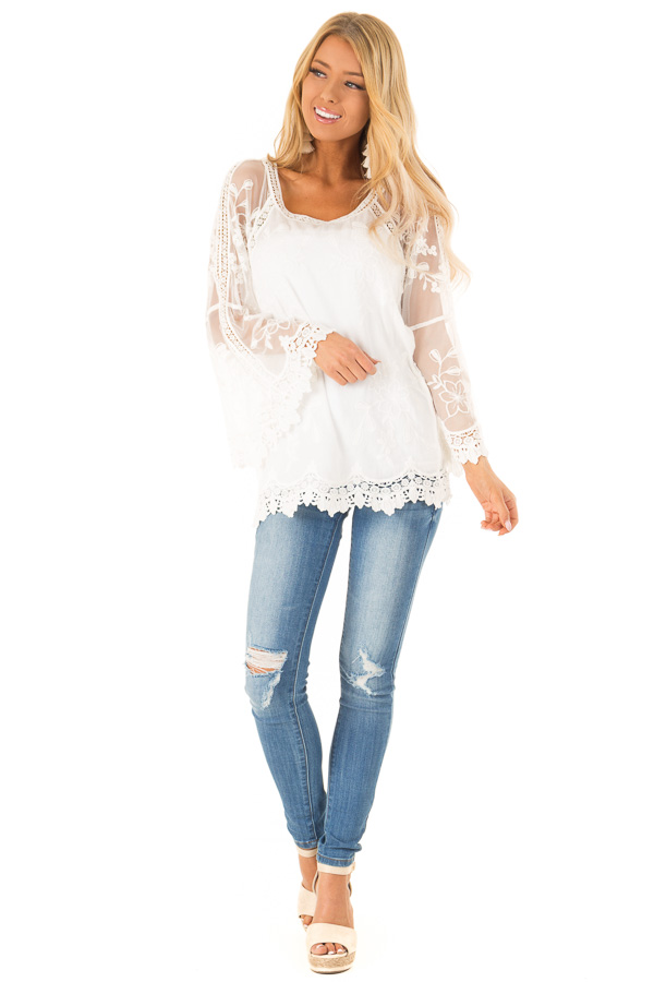 785586362c9059 ... Snow White Top with Sheer Long Sleeves and Floral Embroidery front full  body ...