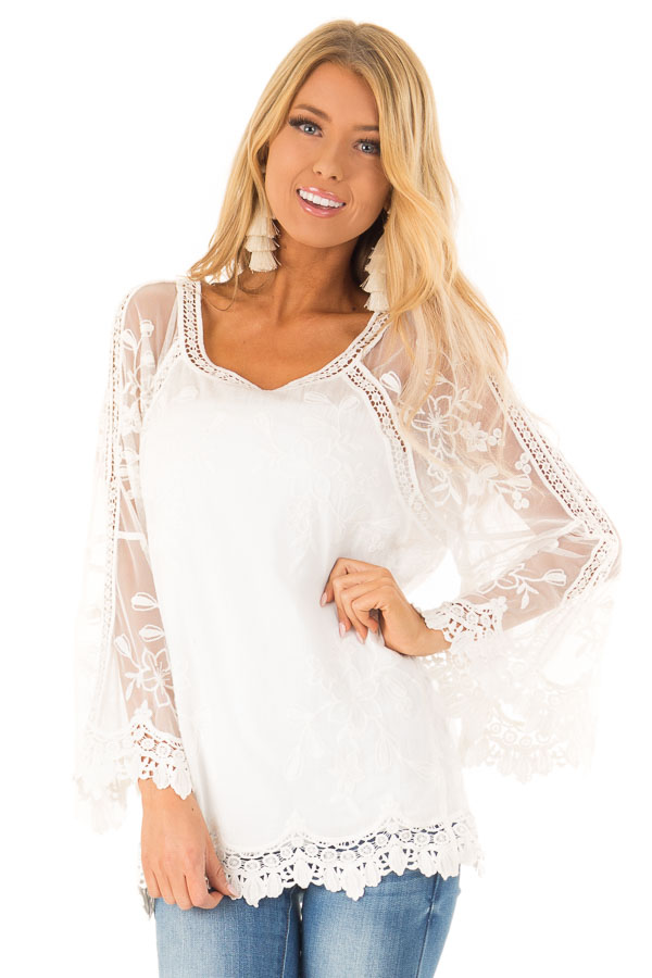 0bba1f5342bf58 Snow White Top with Sheer Long Sleeves and Floral Embroidery front close up
