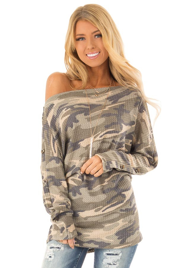 30cbf50d3453f5 Camouflage Long Sleeve Off Shoulder Top with Button Detail front close up