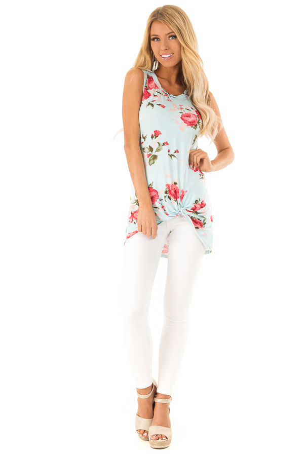Sky Blue Floral Print Front Twist Sleeveless Top front full body