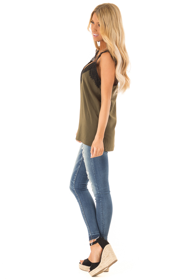 Moss Green Tank Top with Black Lace Trim and Side Slits side full body