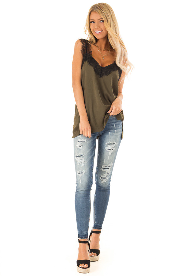 Moss Green Tank Top with Black Lace Trim and Side Slits front full body