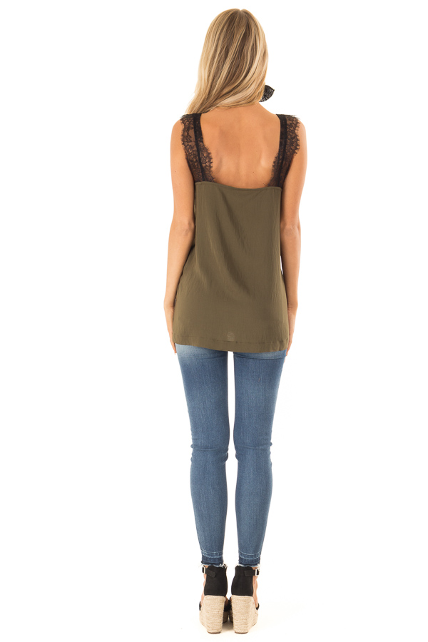 Moss Green Tank Top with Black Lace Trim and Side Slits back full body