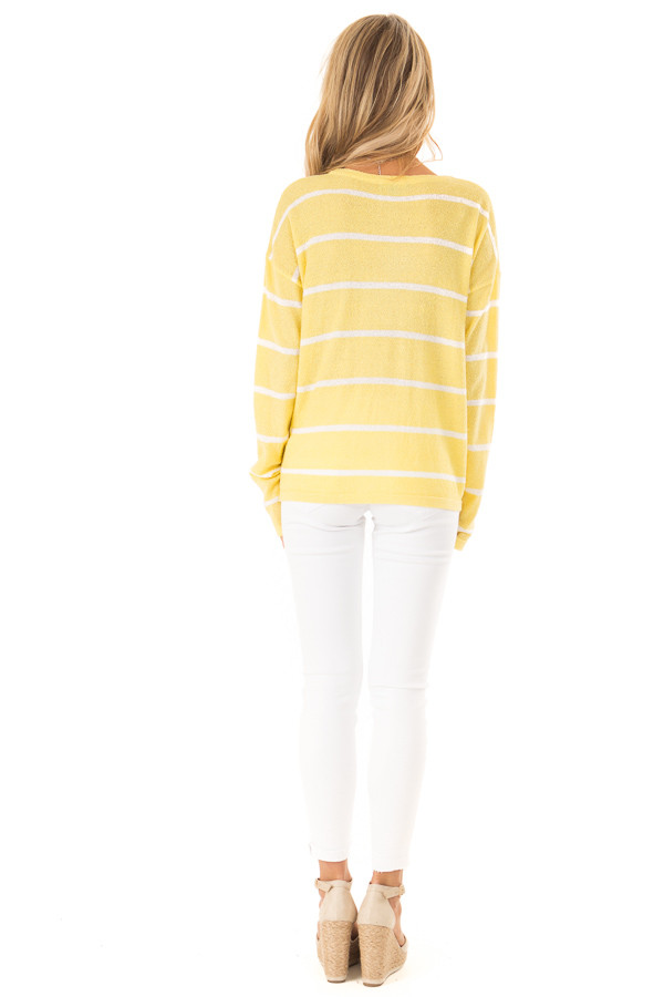 Sunshine Striped Button Up Long Sleeve Top with Tie Detail back full body