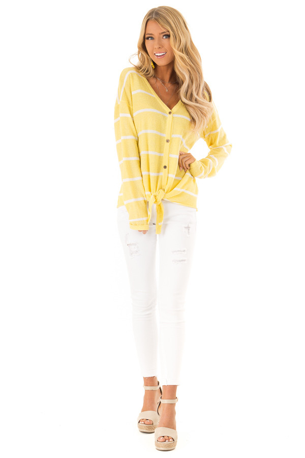 Sunshine Striped Button Up Long Sleeve Top with Tie Detail front full body