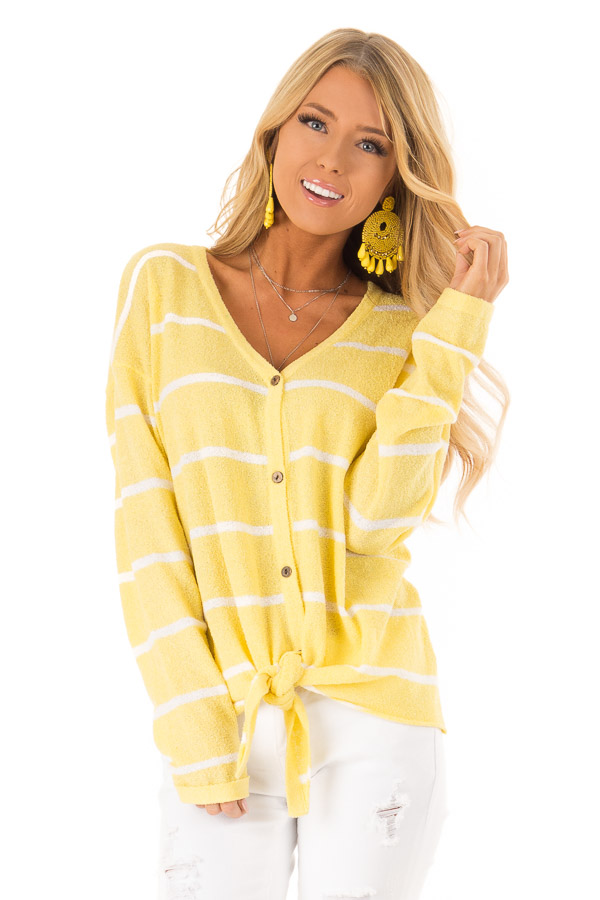 Sunshine Striped Button Up Long Sleeve Top with Tie Detail front close up