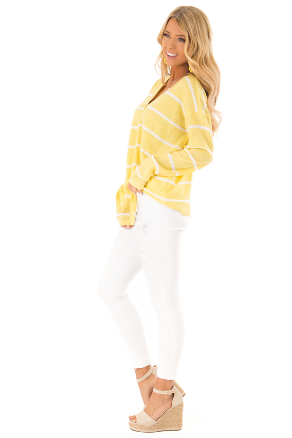 Sunshine Striped Button Up Long Sleeve Top with Tie Detail side full body