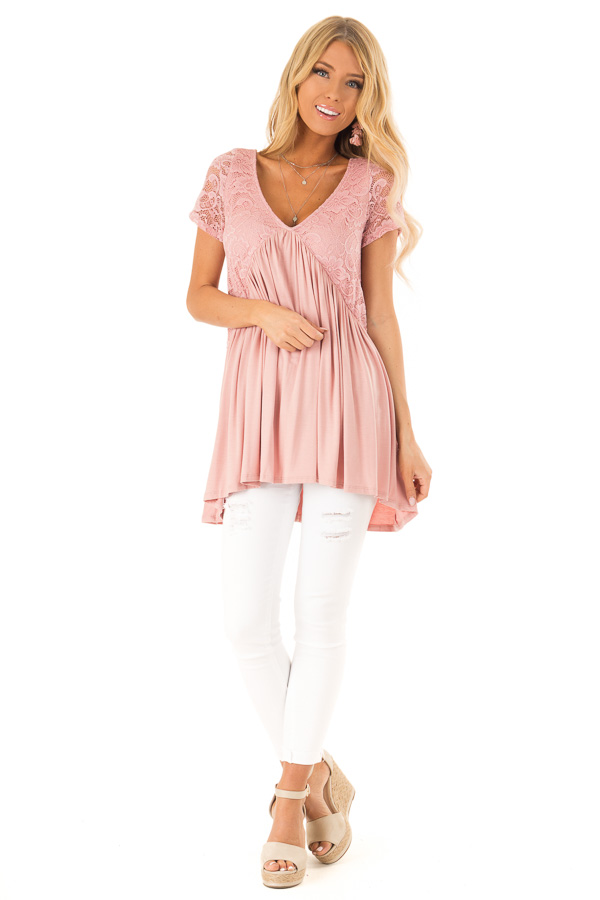 Blush Babydoll Top with Back Tie and Floral Lace Details front full body
