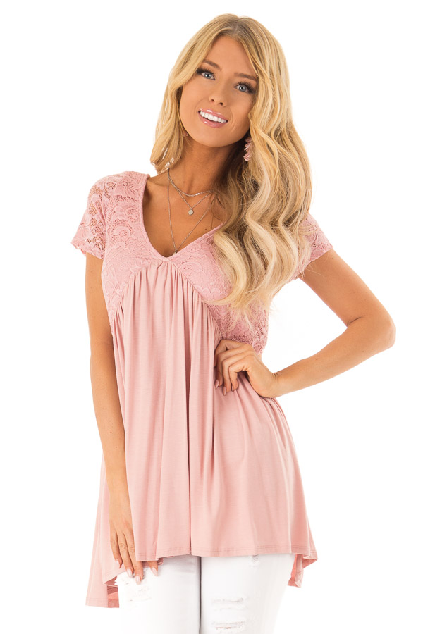 Blush Babydoll Top with Back Tie and Floral Lace Details front close up