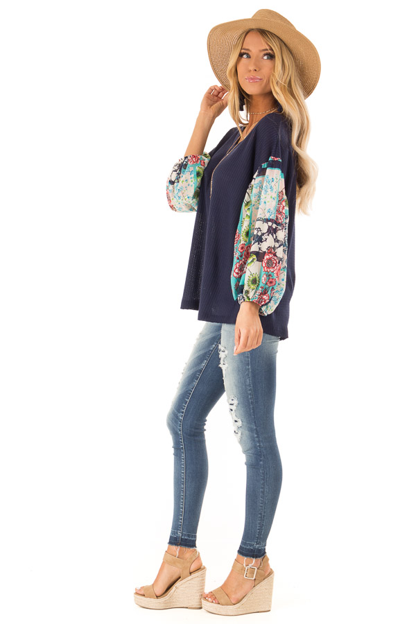 c5f1d67de Navy Waffle Knit Top with Long Sheer Floral Puff Sleeves - Lime Lush ...
