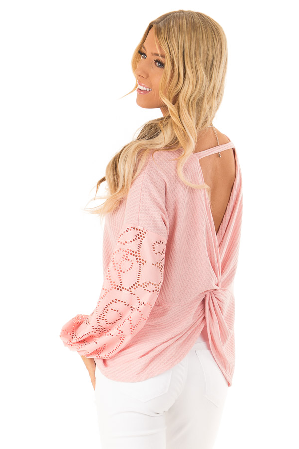 Carnation Pink Open Back Top with Contrast Balloon Sleeves back side close up