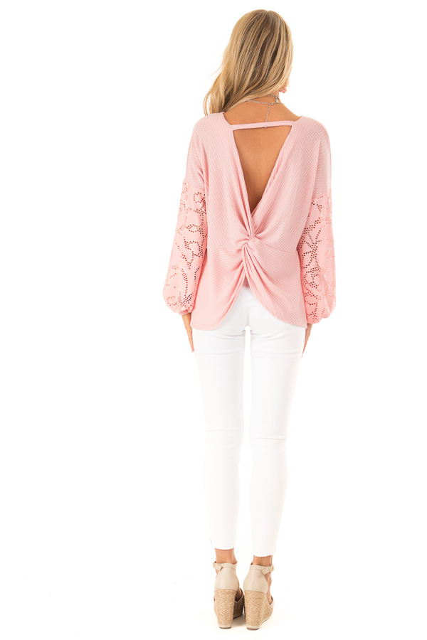 Carnation Pink Open Back Top with Contrast Balloon Sleeves back full body